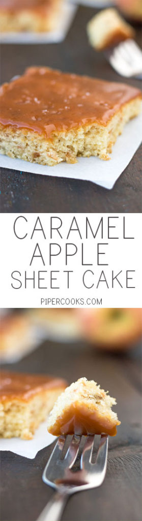 Apple Sheet Cake. Soft sheet cake with grated apple and homemade salted caramel sauce. Recipe from @pipercooks on PiperCooks.com