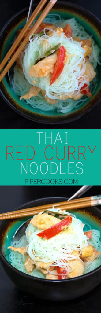 Thai Red Curry Noodles - PiperCooks - Rice noodles featuring thai flavors of lime leaves, lemongrass, fish sauce, coconut milk, lime juice and thai red chilies