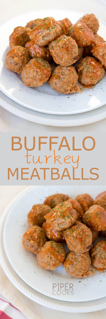 Buffalo Turkey Meatballs | | Super easy and healthy recipe for buffalo style turkey meatballs, great for your Superbowl party | PiperCooks.com