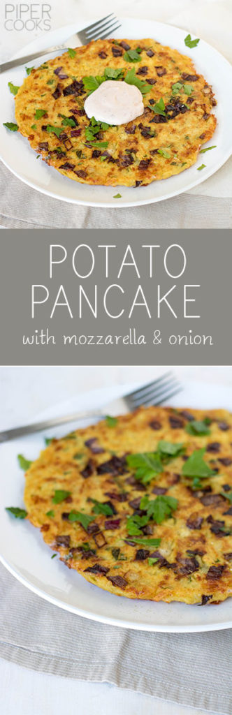 Potato Pancake with mozzarella and onions. Perfect weeknight meal, topped with a fried egg and my Spicy Greek Yogurt Dip. Get the recipe on PiperCooks.com