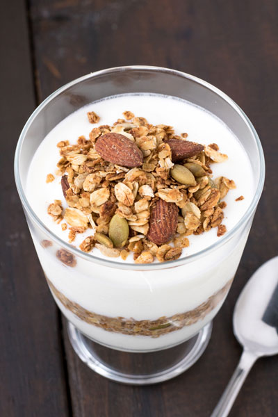 Maple Cinnamon Spiced Granola Recipe - PiperCooks – Easy homemade granola with cinnamon, maple syrup and maple extract. Use whichever nuts you prefer. Use your healthy granola in a cute parfait with Greek yogurt and a drizzle of maple syrup.