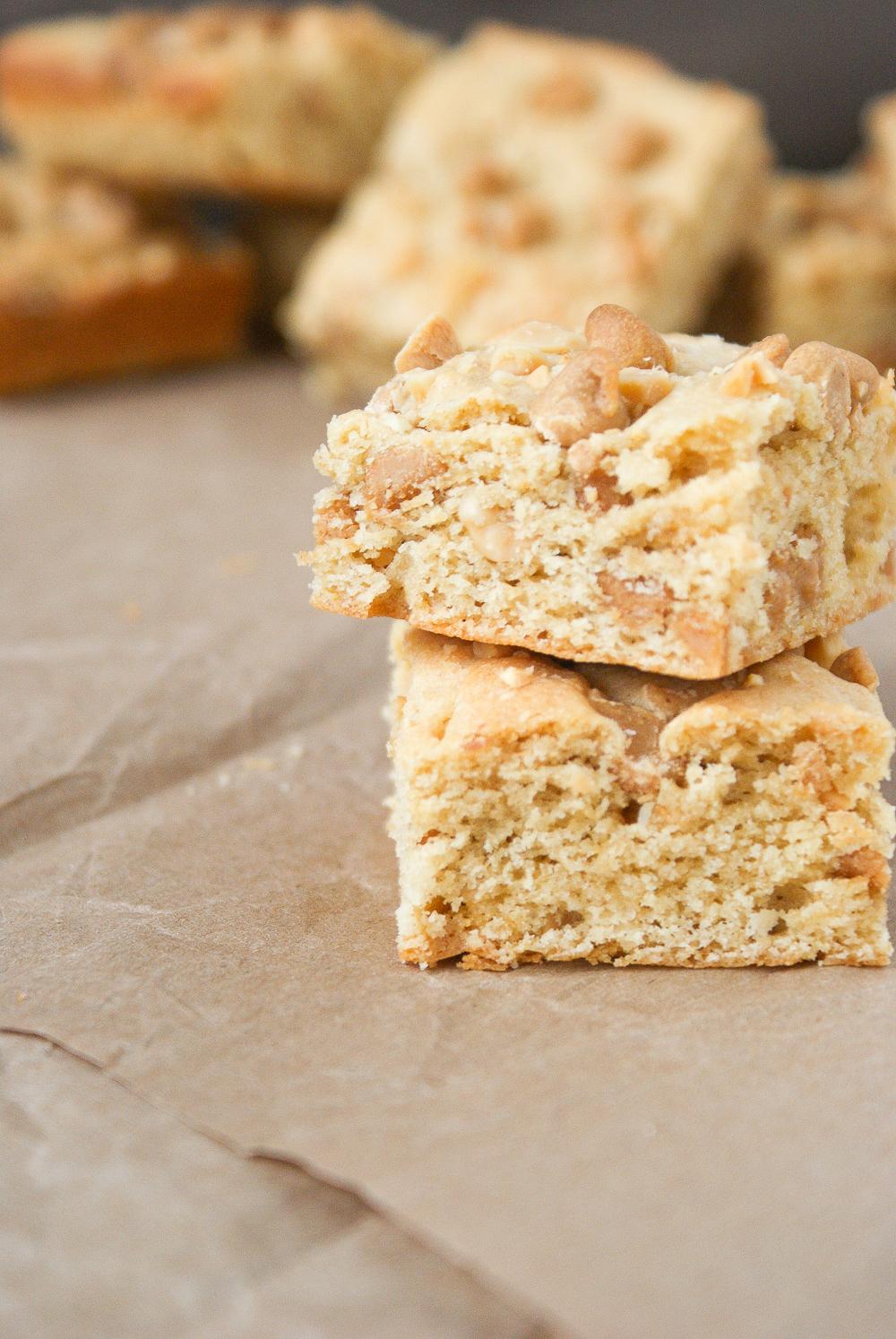 Peanut Butter Blondies Recipe by PiperCooks.com