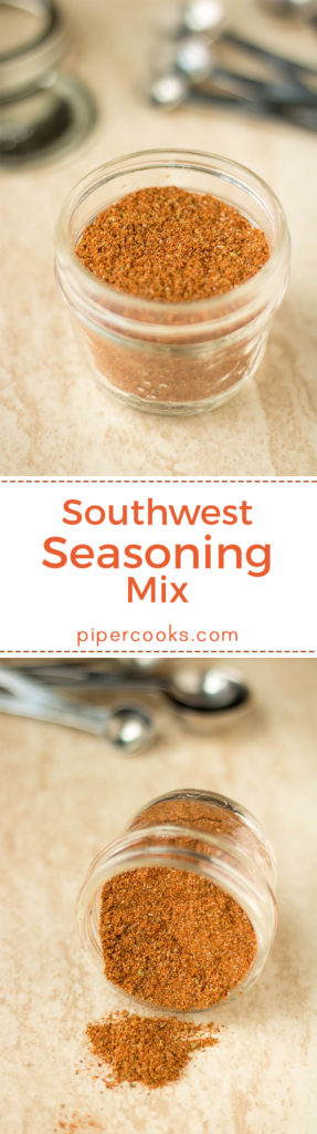 Southwest Seasoning Mix – Easy homemade pantry staple, this spice mix is great on grilled vegetables, grilled chicken, roasted sweet potatoes, my slowcooker salsa chicken. PiperCooks