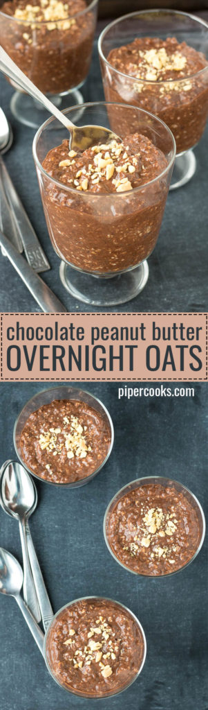 Chocolate Peanut Butter Overnight Oats - PiperCooks.com
