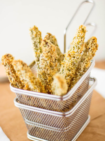 Baked Parmesan & Panko Portobello Fries | Pipercooks.com