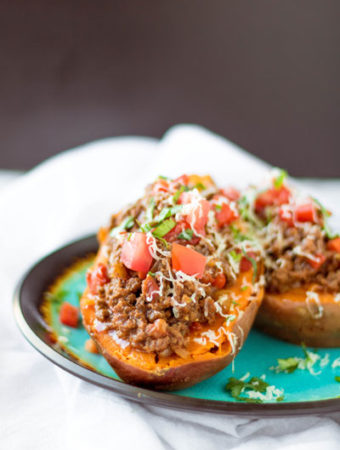 Enchilada Stuffed Baked Sweet Potatoes