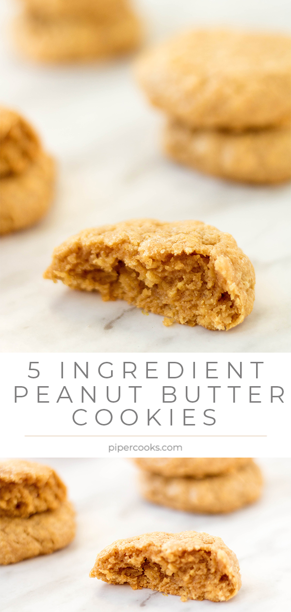 Stacks of 5 Ingredient Peanut Butter Cookies on marble background