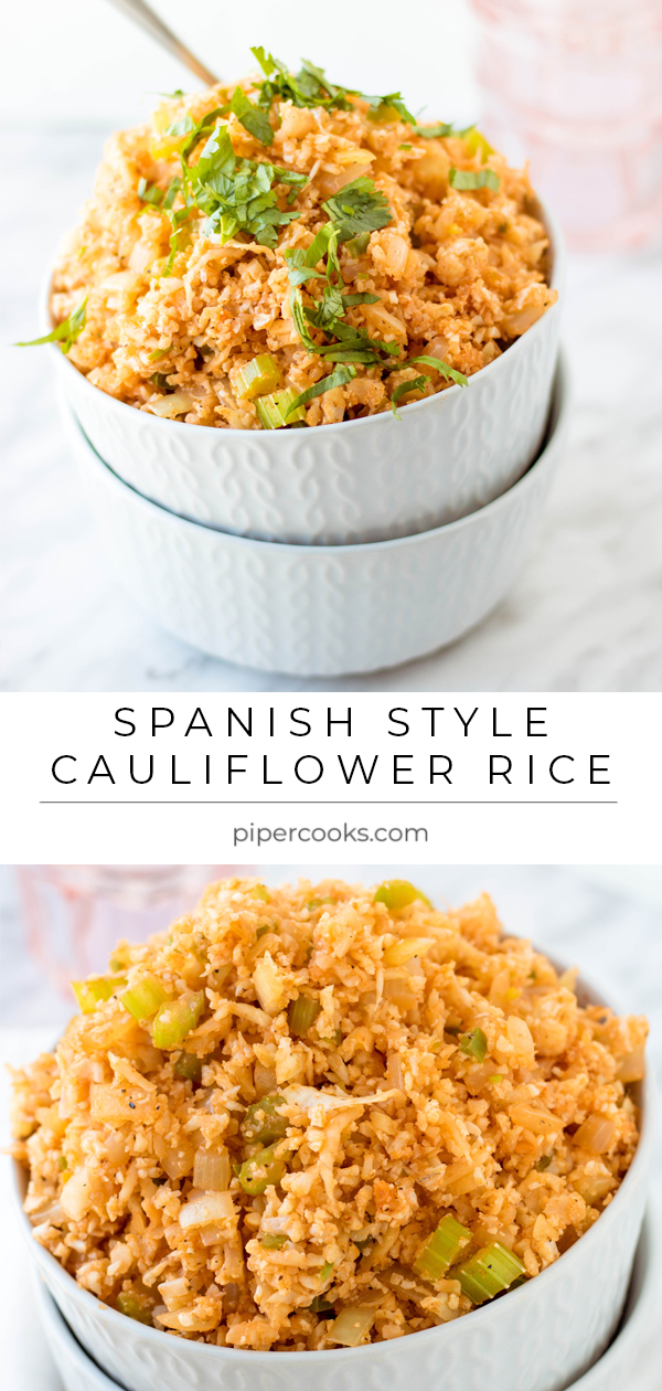 Spanish Style Cauliflower Rice Recipe by PiperCooks