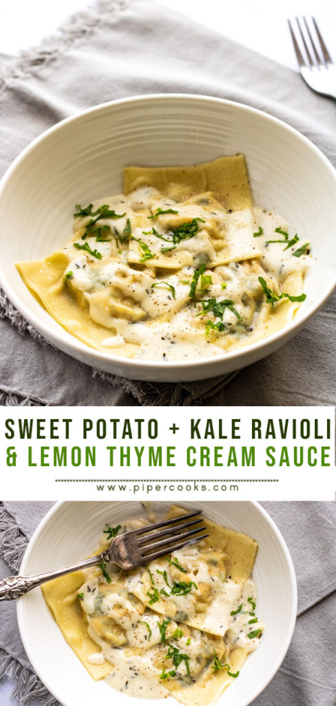 Sweet Potato and Kale Ravioli with Lemon Thyme Cream Sauce | PiperCooks