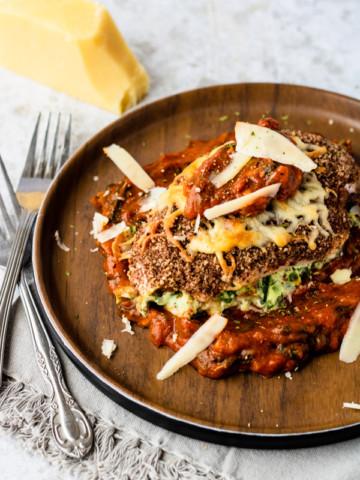 Low Carb Lasagna Stuffed Chicken Parmesan | PiperCooks
