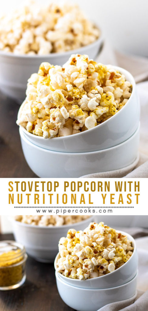 Stove top Popcorn with Nutritional Yeast - PiperCooks