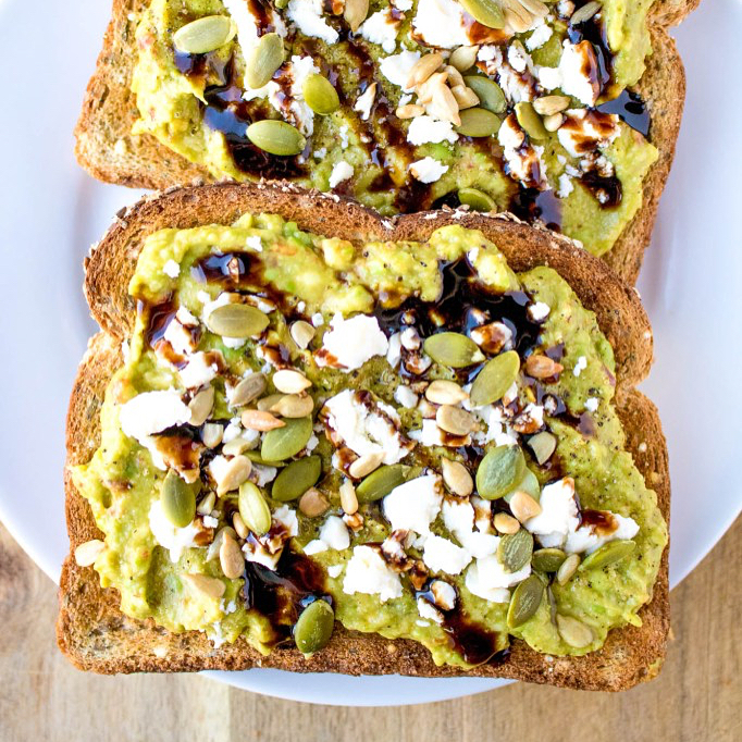 Avocado Toast with Balsamic Glaze and Feta Cheese | Pipercooks