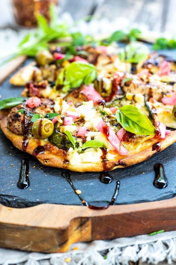 Mediterranean Naan Bread Pizza   PiperCooks