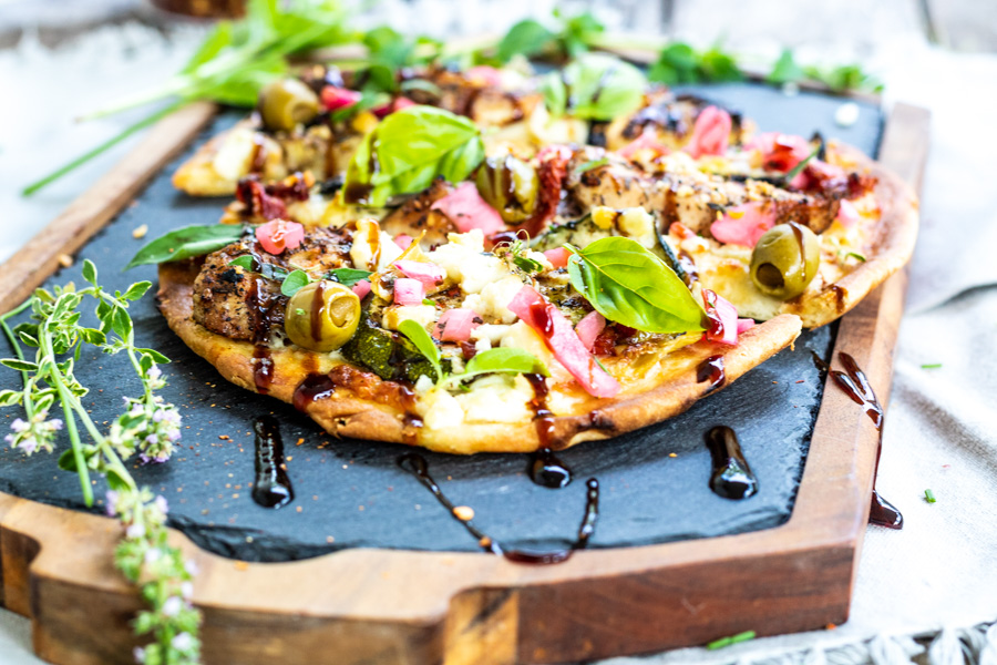 Mediterranean Naan Bread Pizza | PiperCooks