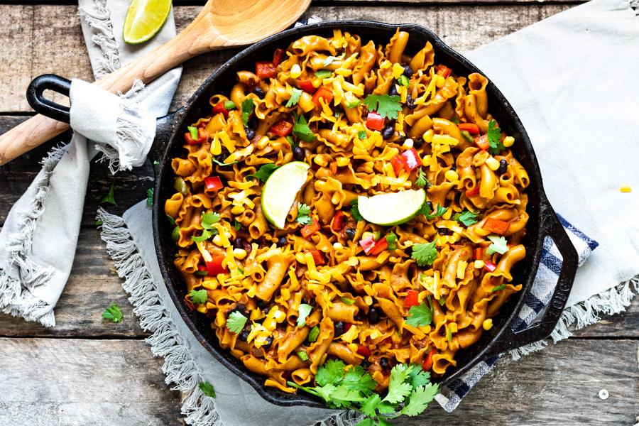 One Pan Vegetarian Enchilada Pasta Skillet | PiperCooks