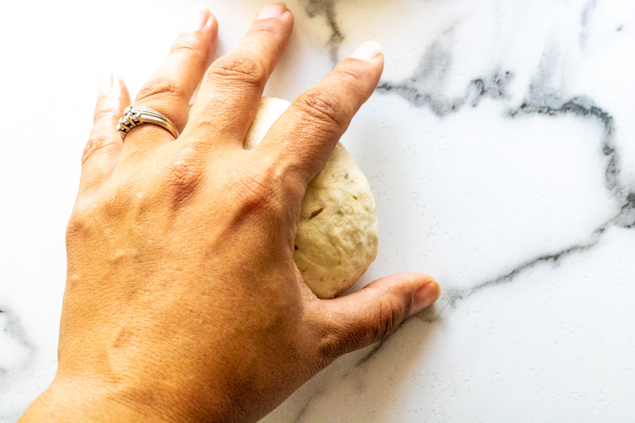 Rolling bread bowl dough