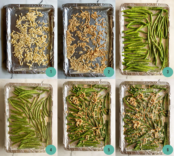 6 step by step photos of roasting green beans on a pan lined with tin foil