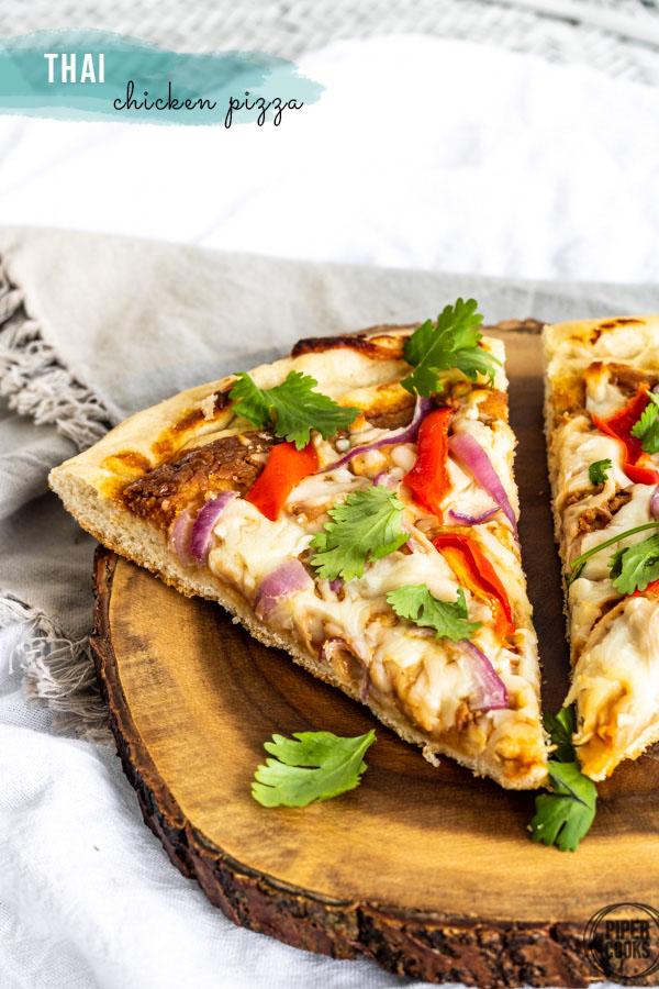 Thai Chicken Pizza with Peanut Sauce