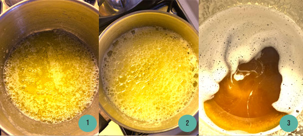 Process of Browning Butter in a pot on the stovetop
