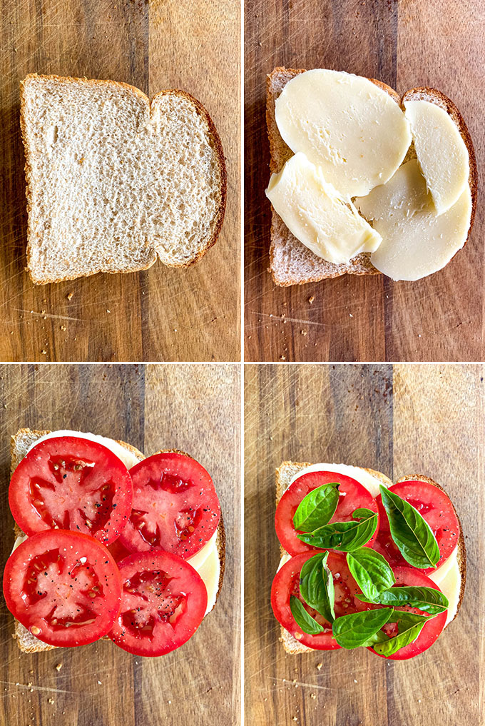 Caprese Grilled Cheese Sandwich Process Shots