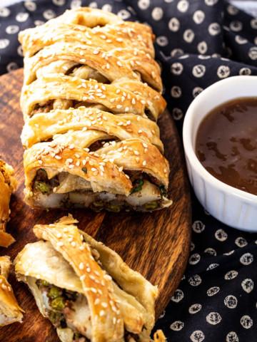 Samosa Puff Pastry Braid with Tamarind Sauce