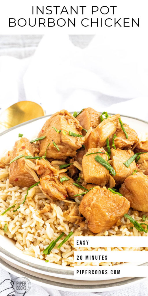 instant pot bourbon chicken pinterest image