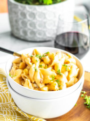 homemade macaroni and cheese in a bowl