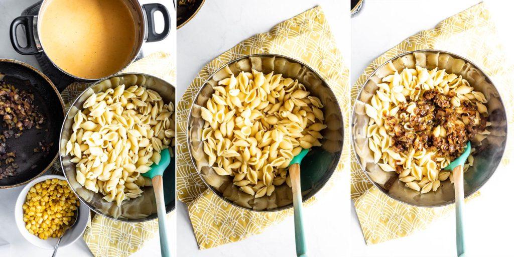 process shots of mixing homemade mac and cheese