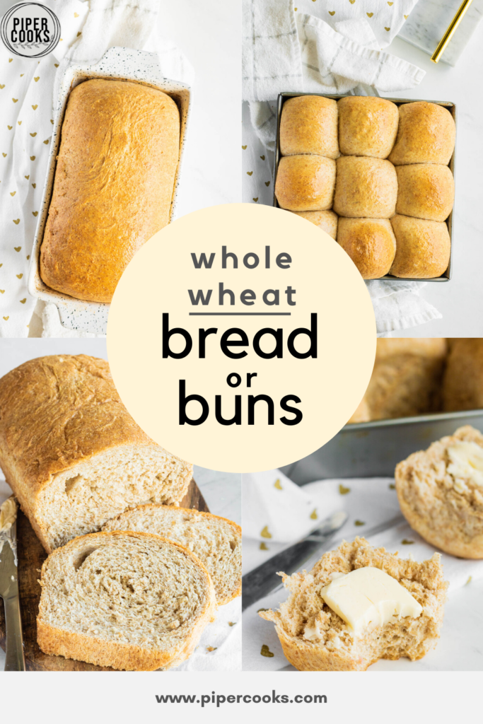Whole Wheat Dinner Rolls or Loaf Pin Image Collage