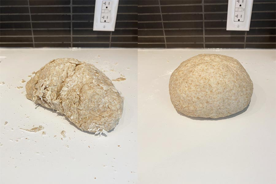 Whole Wheat Dough before and after kneading