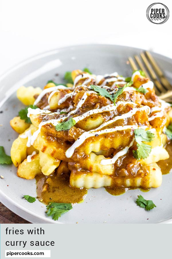 French Fries with Curry Sauce with text overlay for pinterest