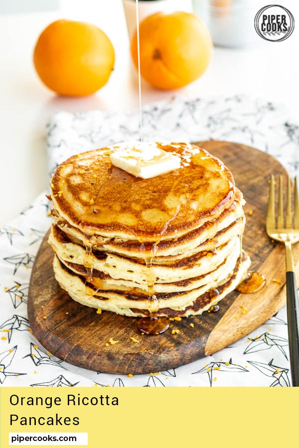 stack of orange ricotta pancakes