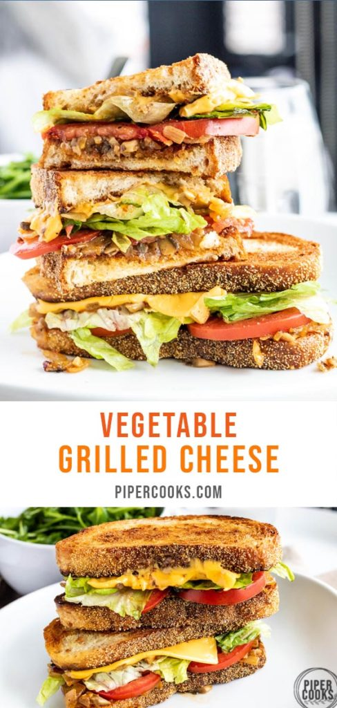 vegetable grilled cheese sandwich with text overlay for pinterest