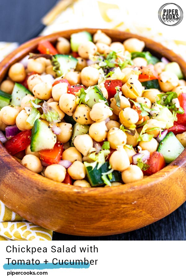 Chickpea Salad with Tomatoes and Cucumber in a bowl