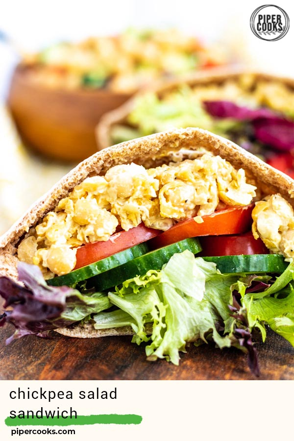 Chickpea Salad Sandwich Filling in a pita bread with a text overlay for Pinterest