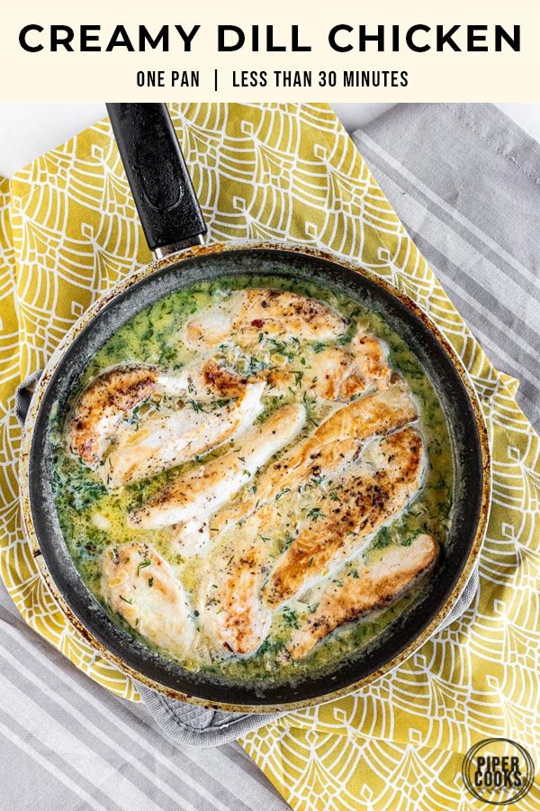 Creamy Dill Chicken with Pinterest Text Overlay