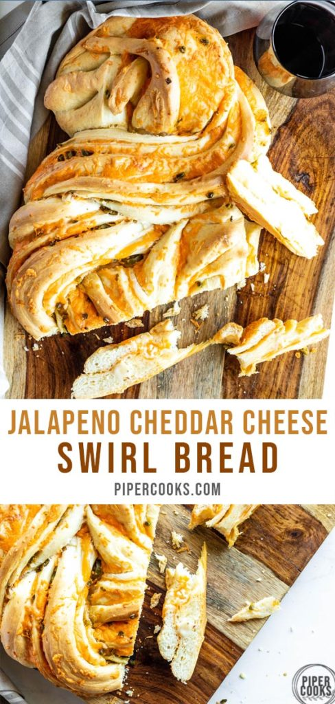 Jalapeno Cheddar Cheese Swirl Bread Loaf with Text Overlay for Pinterest