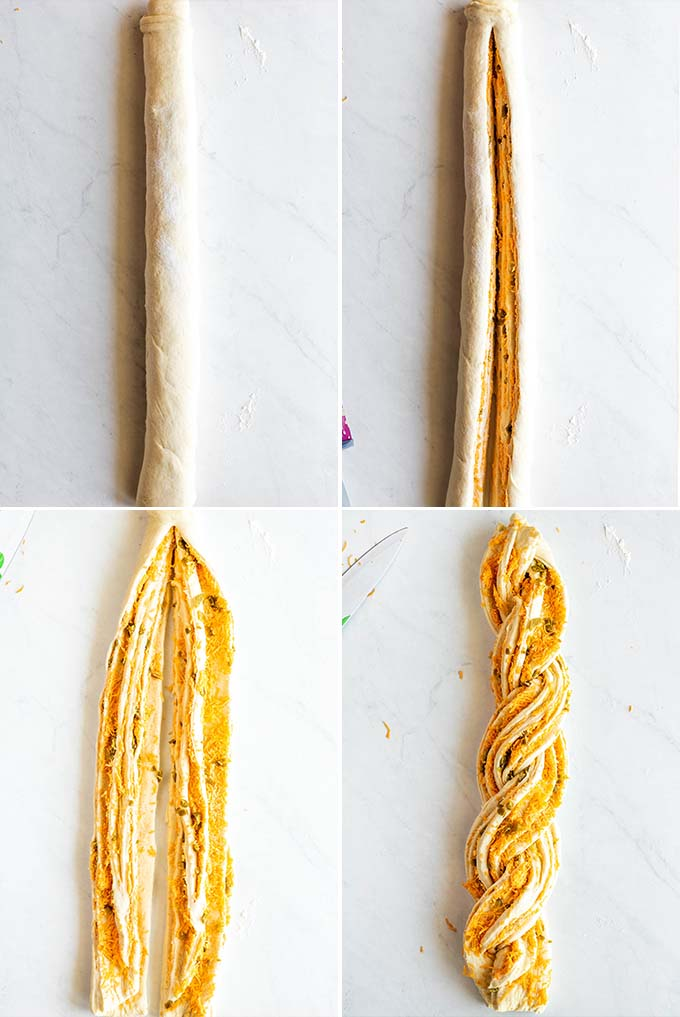 Jalapeno Cheddar Cheese Swirl Bread Loaf - Process shots on how to shape the dough 3