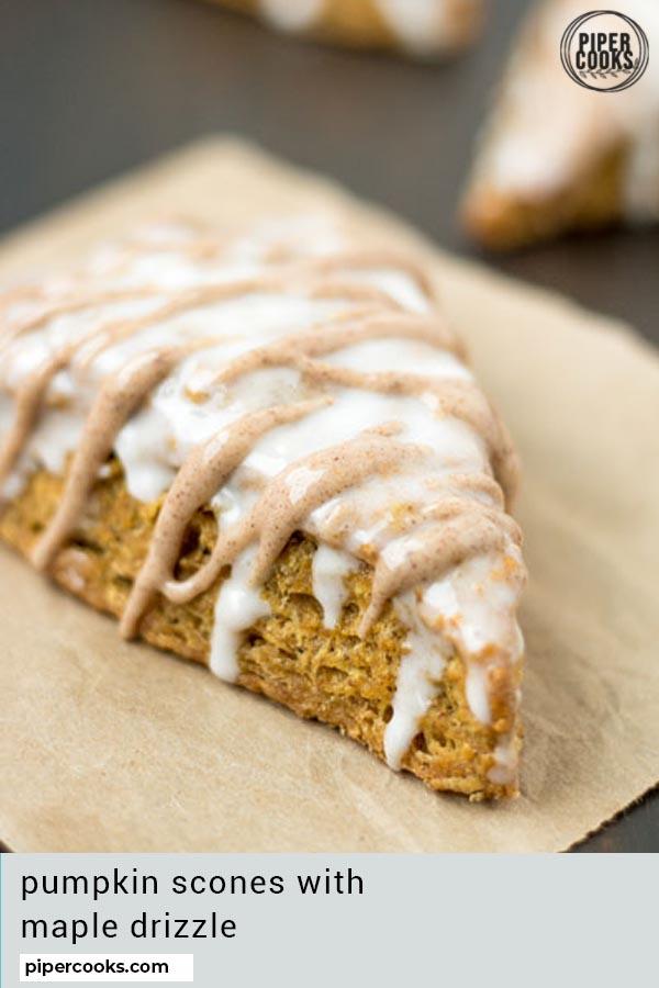 pumpkin pie scones with text overlay for pinterest