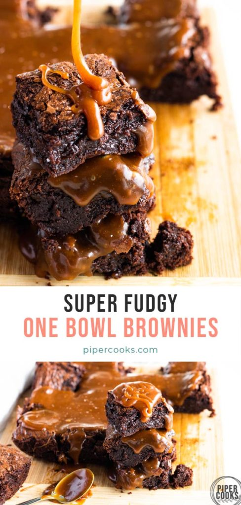 stack of three brownies with salted caramel sauce on top with text overlay for pinterest