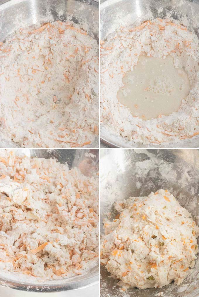 process of mixing flour and butter and cheese for biscuits