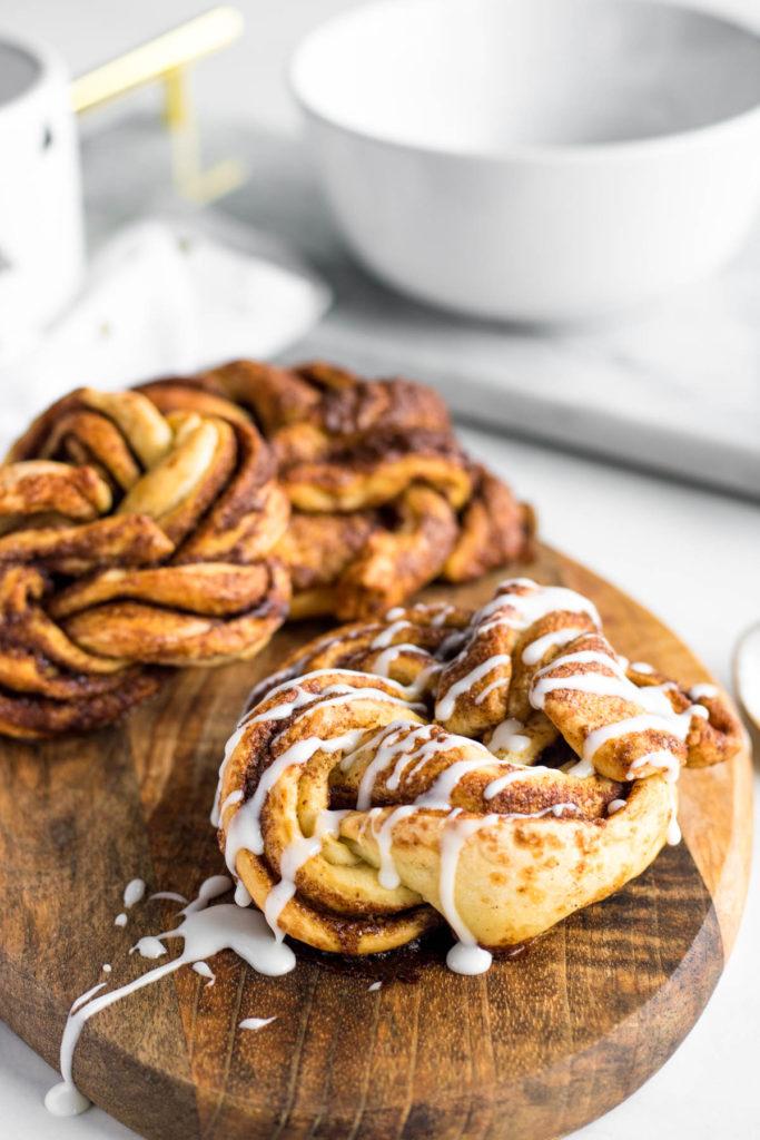 cinnamon twists on a wood platter