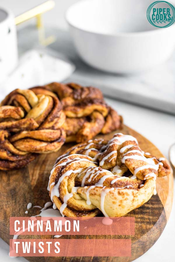 cinnamon twists on a wood platter with text overlay for pinterest