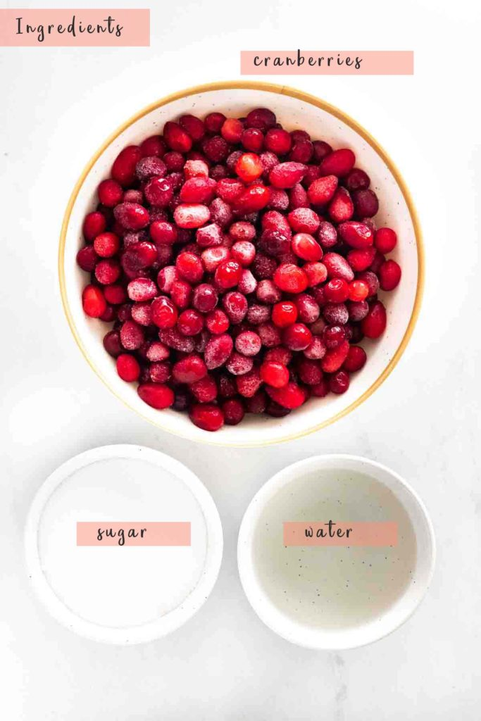 ingredients for cranberry sauce, bowl of cranberries, bowl of sugar and bowl of water, with text overlays