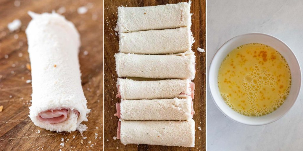Process Shots showing how to make a monte cristo rollup with bread, ham and cheese
