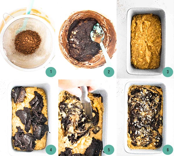 step by step photos of mixing batter for chocolate peanut butter banana bread
