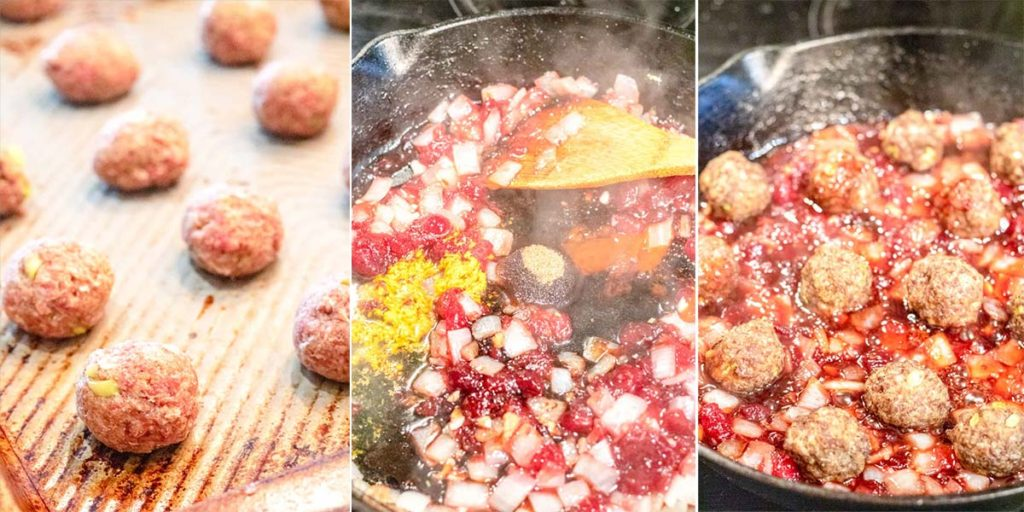 process shots of making meatballs and a cranberry pan sauce