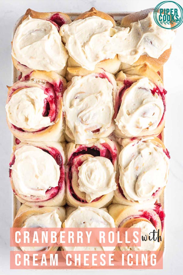 cranberry sweet rolls with cream cheese icing text overlay for pinterest