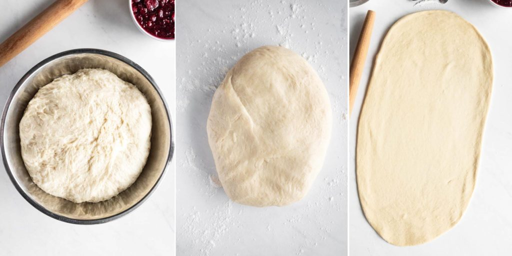rolling dough for cranberry sweet rolls