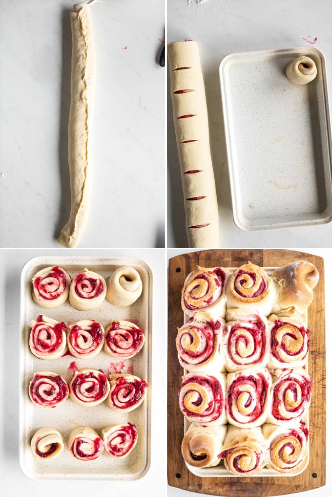 cutting and place rolls in a pan to bake for cranberry sweet rolls